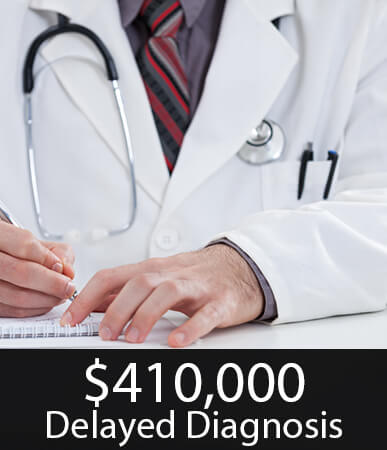 $410,000 settlement for a delayed diagnosis.