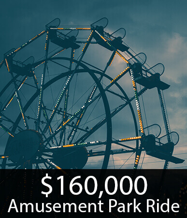 $160K Settlement in an accident at an amusement park.